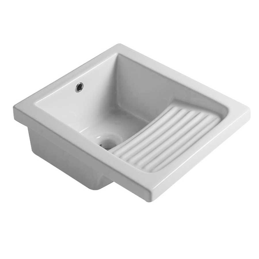 Lavatoio in ceramica bianca con foro troppo pieno. Con strizzatoio integrato Misure cm45,5x51,5x26h