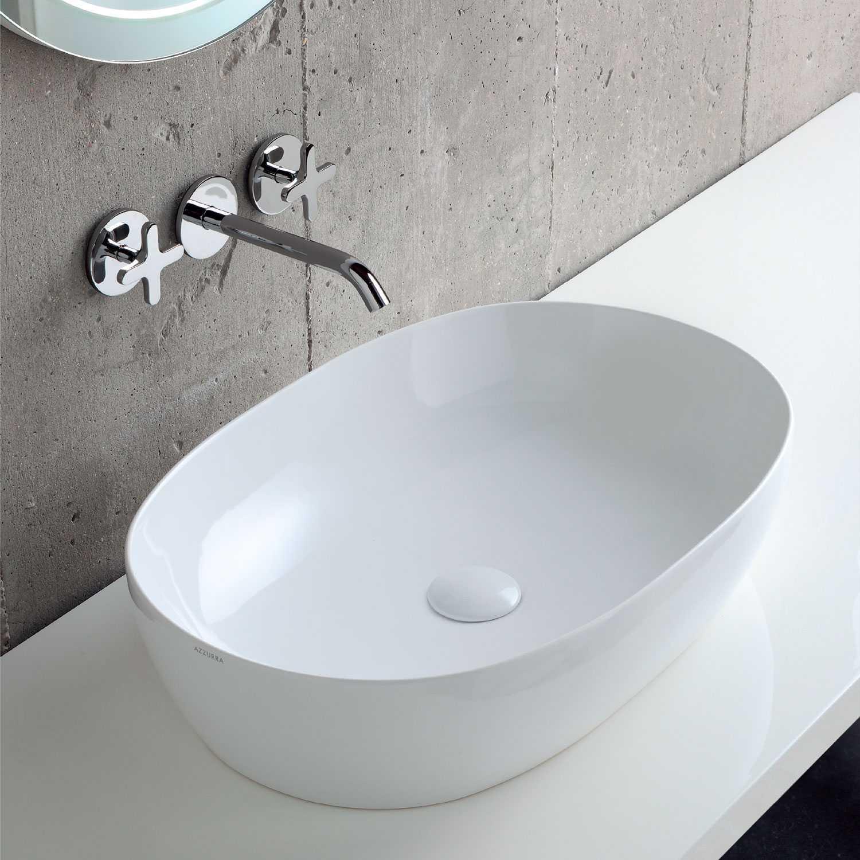 Lavabo da Appoggio modello Elegance 60x40 Ceramica Azzurra con bordo sottile