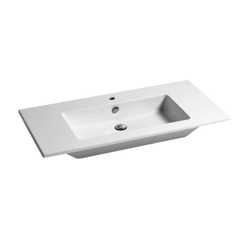 Lavabo consolle in ceramica cm 106x51 per installazione sospesa o da appoggio su mobile Azzurra Slim