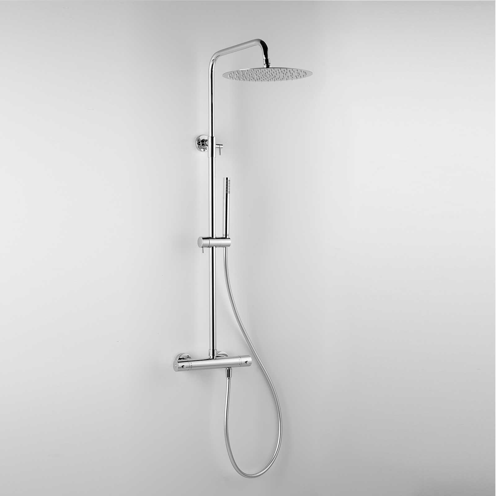 Colonna doccia termostatica tonda con soffione d. 25 e corpo telescopico