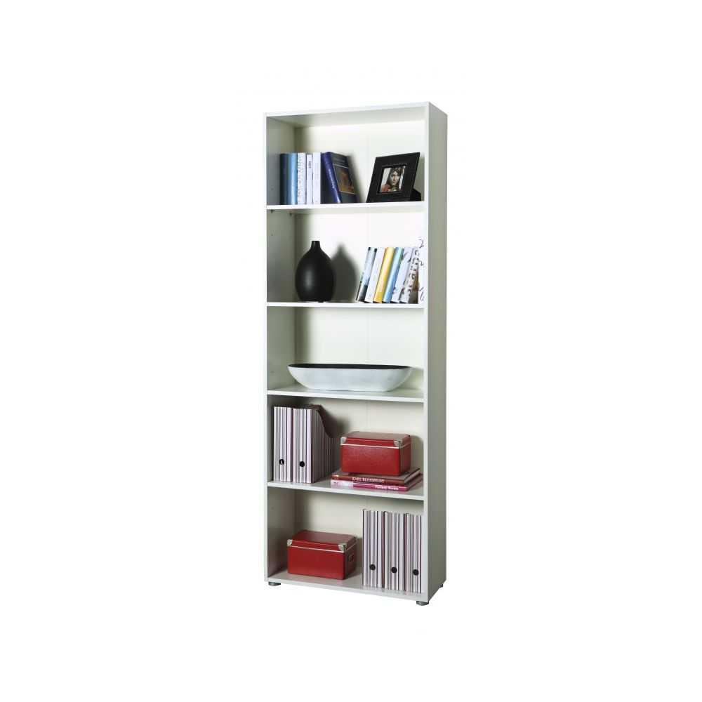Libreria linea FLOW, 5 vani, colore bianco, cm 70x30xH197