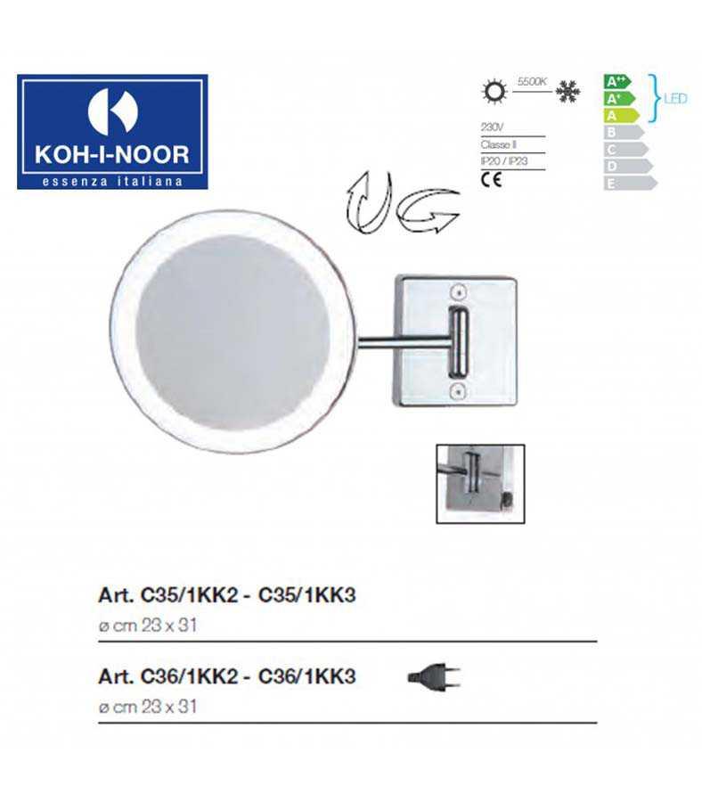 Specchio ingranditore orientabile koh-i-noor modello Discolo LED con braccio singolo