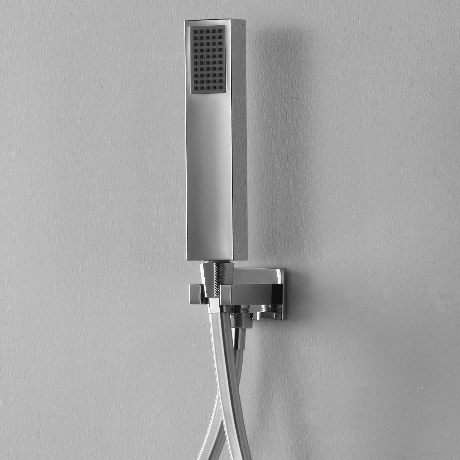 Set duplex Ares con doccetta quadra, flessibile quadrato e presa acqua con supporto