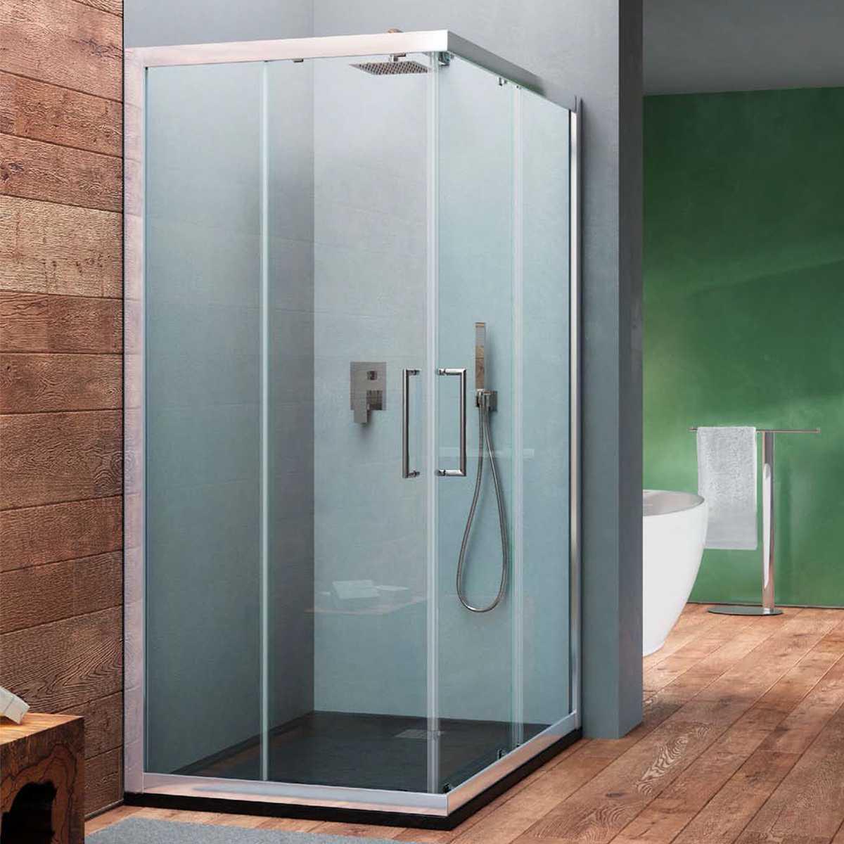 Box doccia angolare scorrevole Minerva 120x70  in cristallo trasparente 6 mm