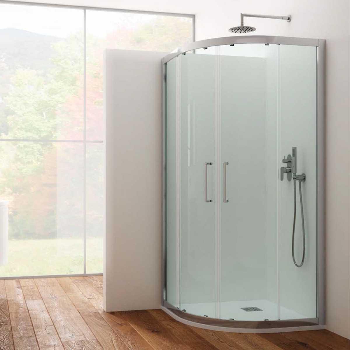 Box doccia circolare 90x90 apertura scorrevole cristallo trasparente 6 mm