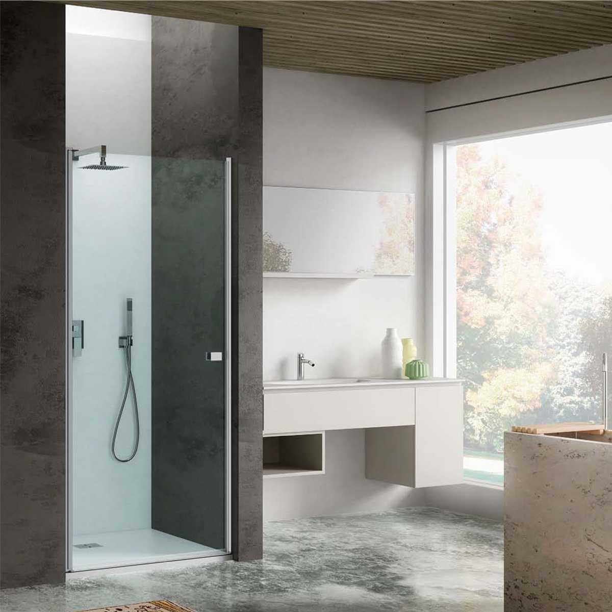 Porta doccia apertura Battente da 80 cm cristallo trasparente 6 mm temperato