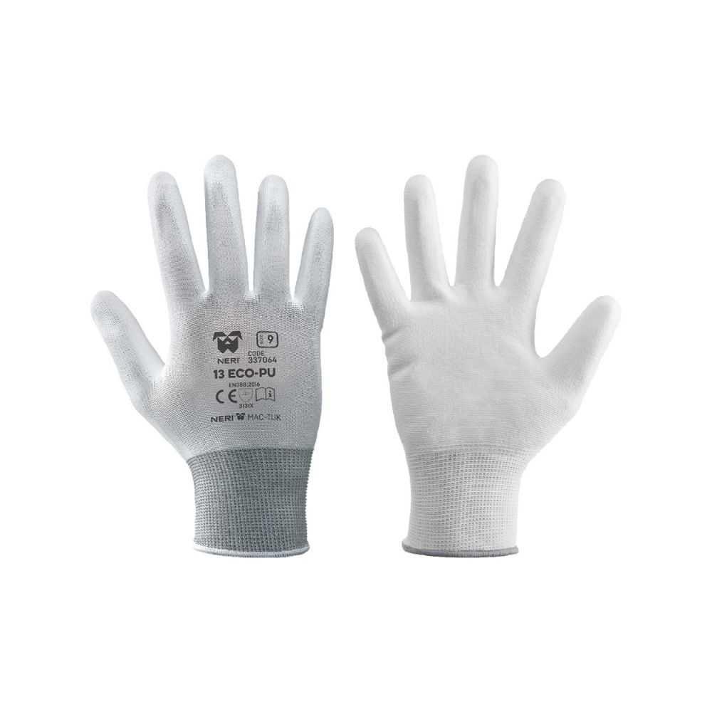 Guanti da lavoro '13 Eco Pu' a filo continuo in 100% poliestere/poliuretano Tg. 10 - Colore Bianco
