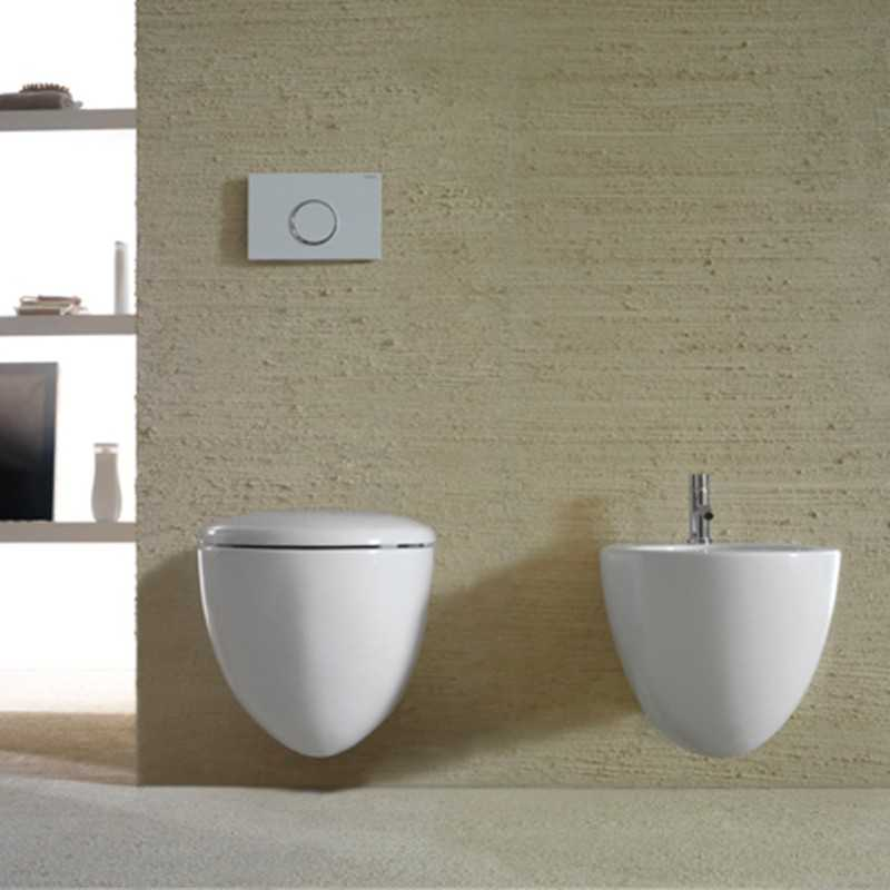 Sanitari Sospesi senza brida Ceramica Globo Bowl+ 55 WC + BIDET + SEDILE SOFT CLOSE