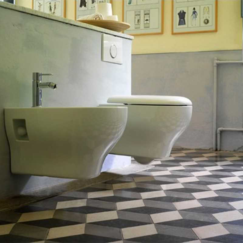 Sanitari Sospesi Ceramica Globo Grace WC + BIDET + SEDILE SOFT CLOSE