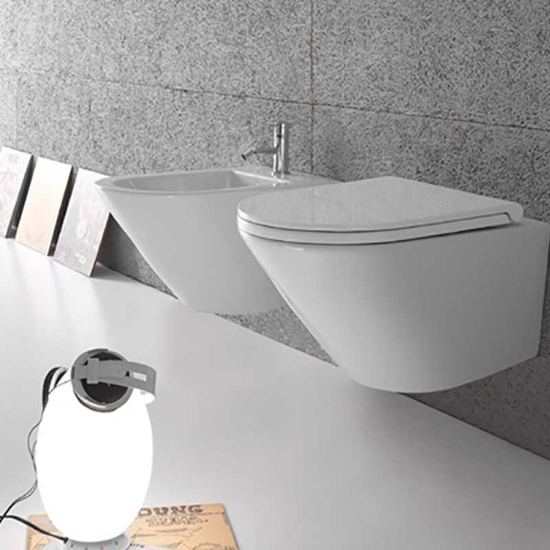 Sanitari Sospesi Senza Brida Ceramica Globo Forty3 57 WC + BIDET + SEDILE SOFT CLOSE