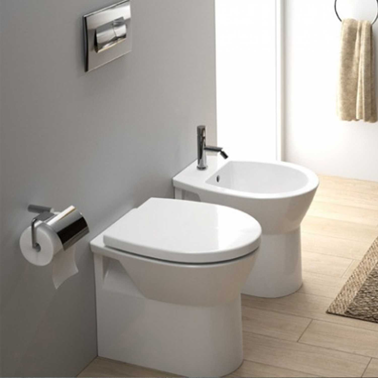 Sanitari bagno Filo Muro Sanindusa Easy Compact wc, bidet e sedile soft close