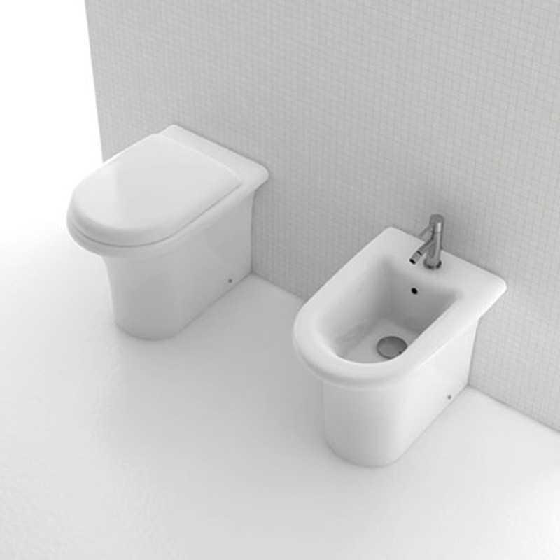 Sanitari Filo Parete Ceramica Domus Falerii modello H2O Wc con sedile e Bidet