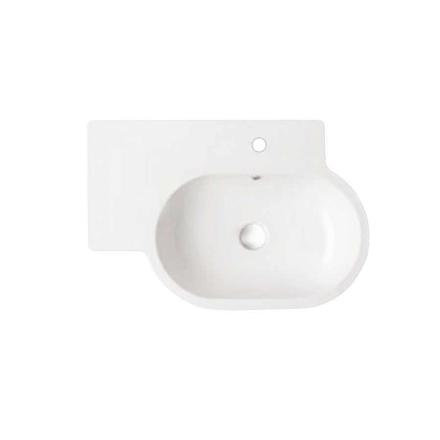 Lavabo modello Bowl misure cm 75x51 in ceramica bianca lucida. Con foro troppopieno. Installazione sospesa.