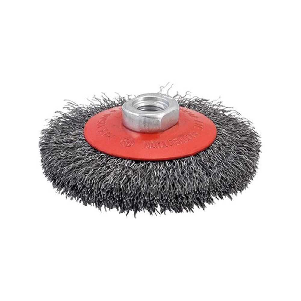 Spazzola conica per smerigliatrice diametro 100 mm con fili in acciaio ondulati