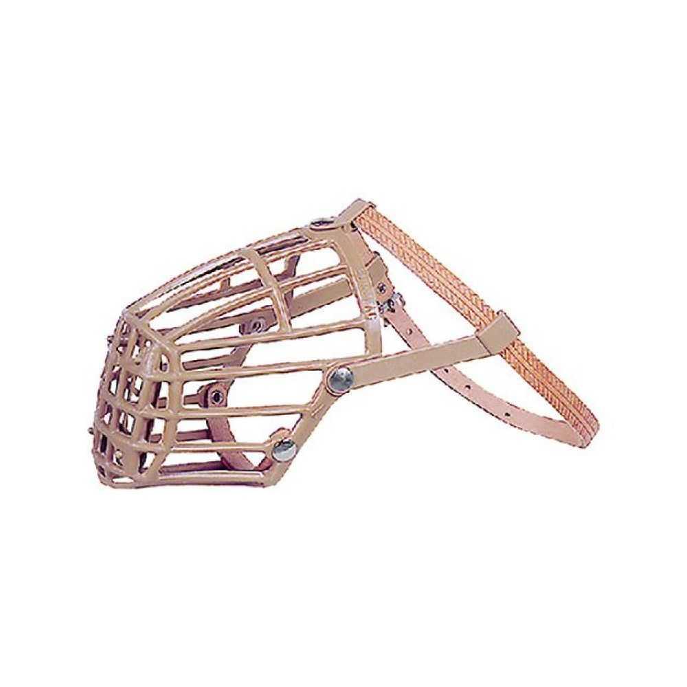 Museruola per cane in plastica e cuoio. Modello n. 7
