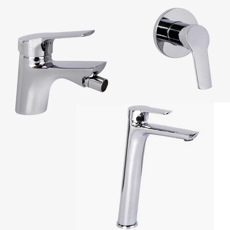 Fima Carlo Frattini Serie 4 lavabo alto c/scarico, bidet c/scarico e doccia