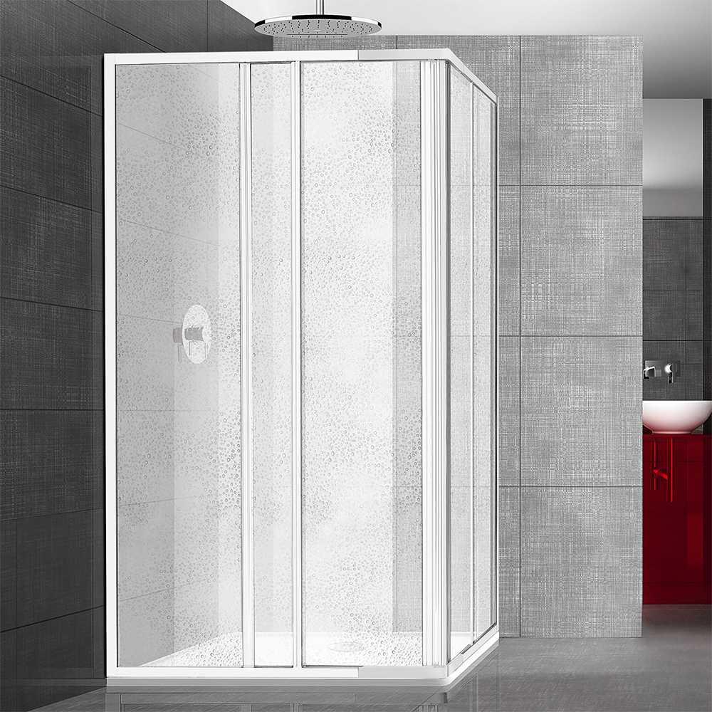 Box doccia angolare 70x85 in alluminio e pannello in acrilico