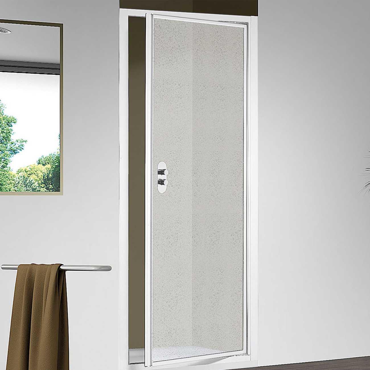 Porta doccia apertura battente per nicchia da 90 cm in alluminio e acrilico