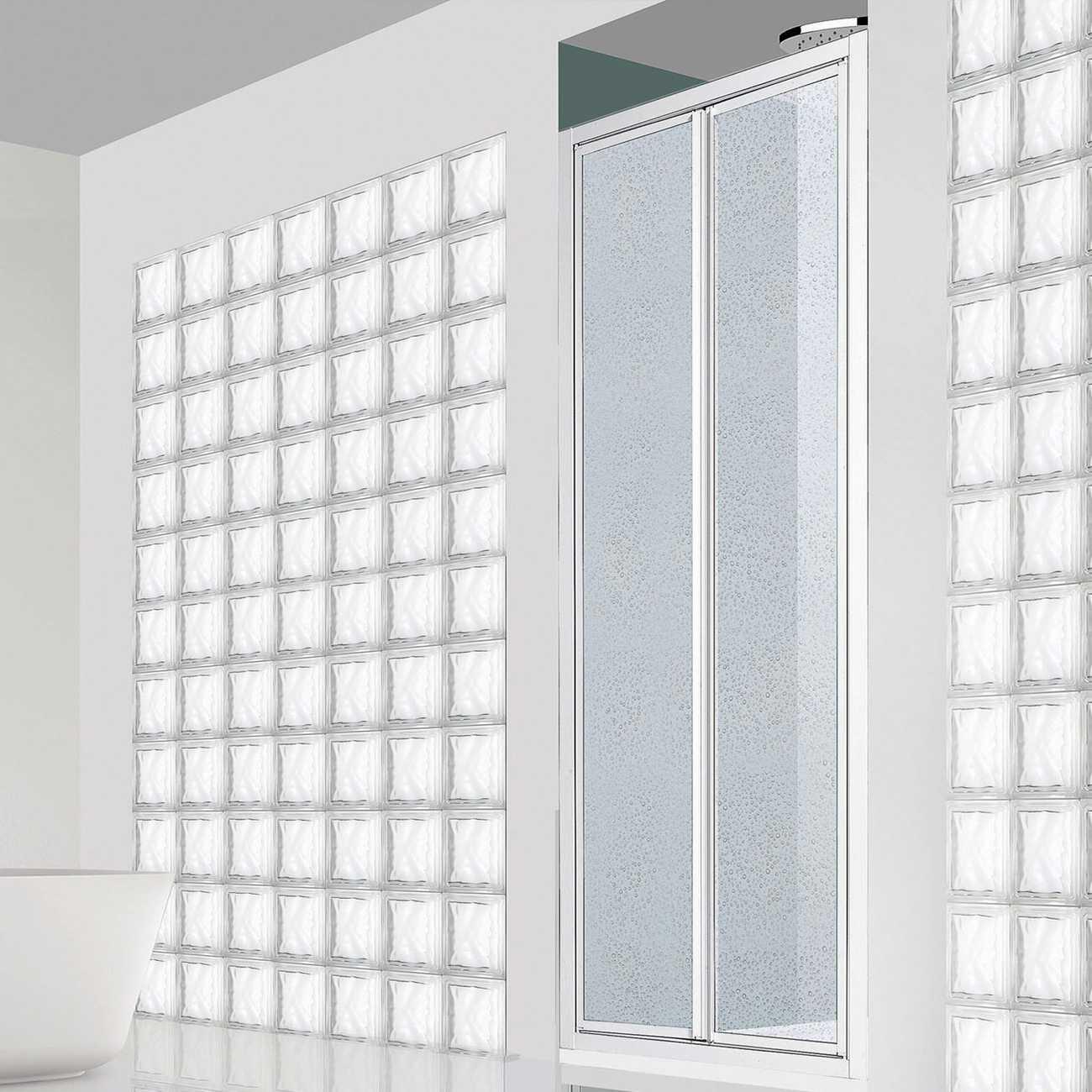 Porta doccia con apertura saloon per nicchia da 75 cm in alluminio e acrilico