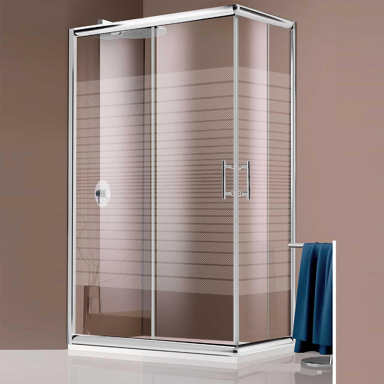 Box doccia angolare in cristallo serigrafato da 6 mm 80x80 profilo cromo brillante