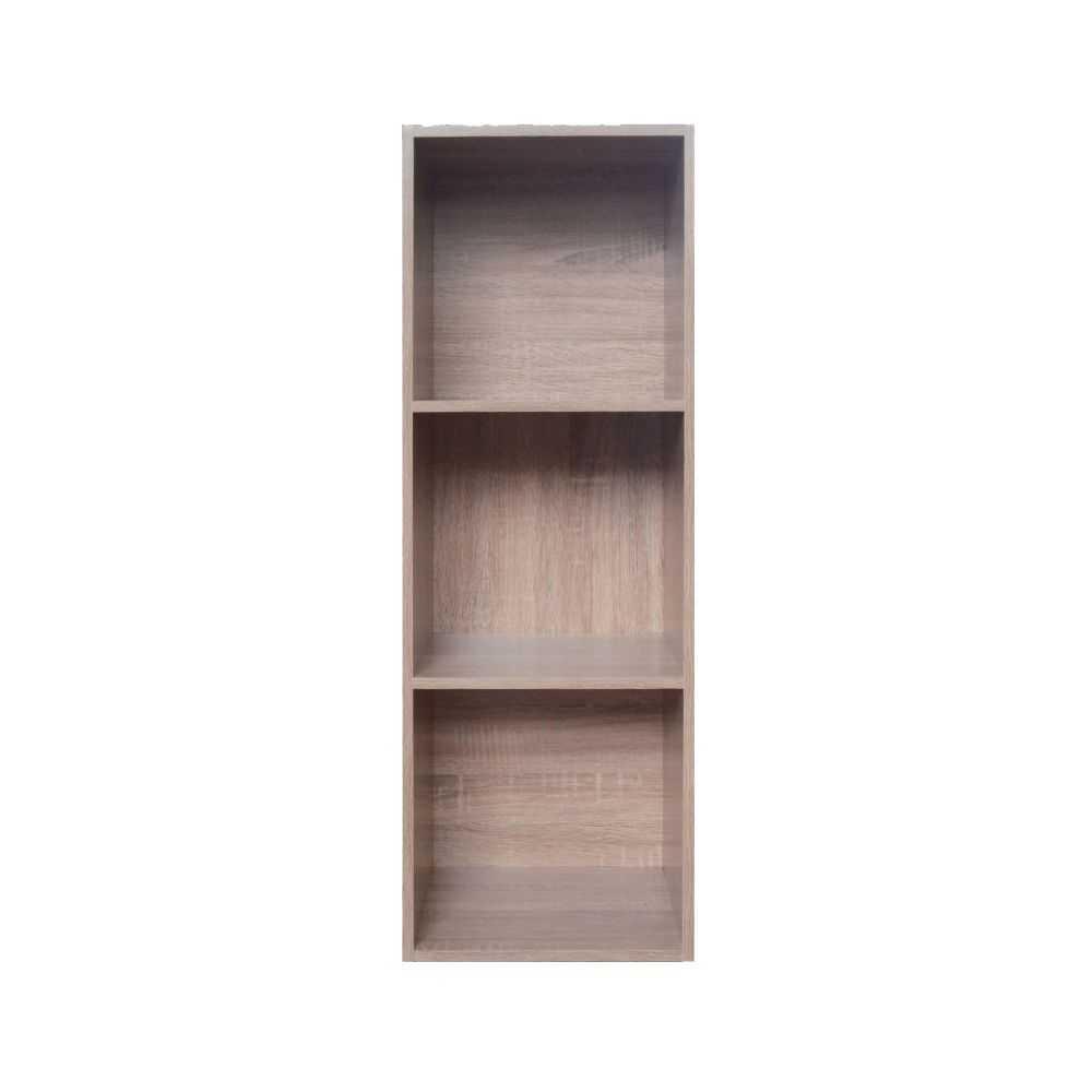 Libreria modello CUBO 3, in melaminico tre vani, colore rovere, cm 31x30xH91