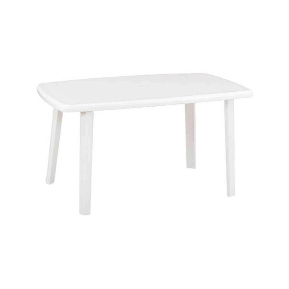 Tavolo da giardino modello CAYMAN, in polipropilene di colore bianco, misura cm 140x90xH72