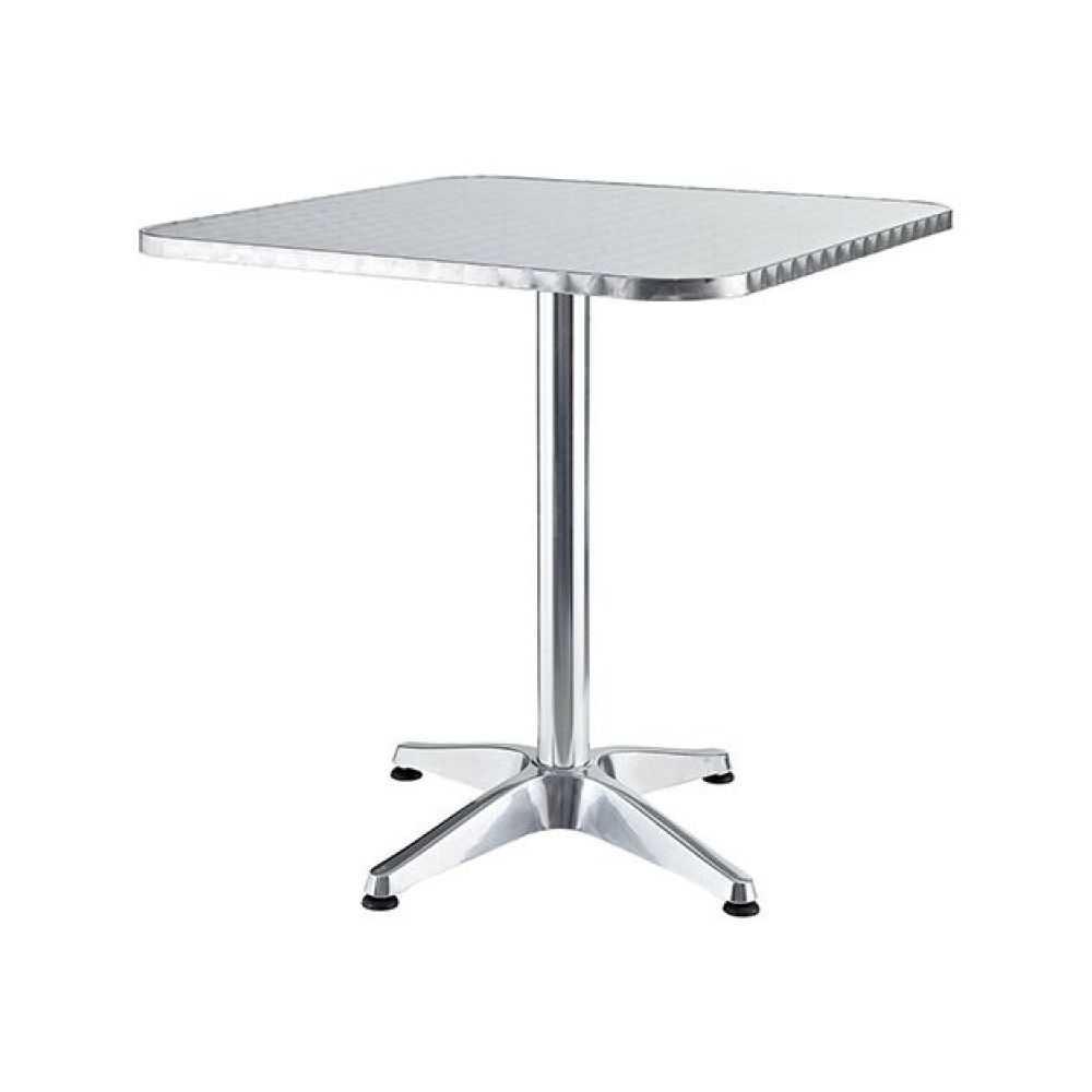 Tavolo quadro in alluminio, con piede centrale, dimensioni cm 60x60xH70