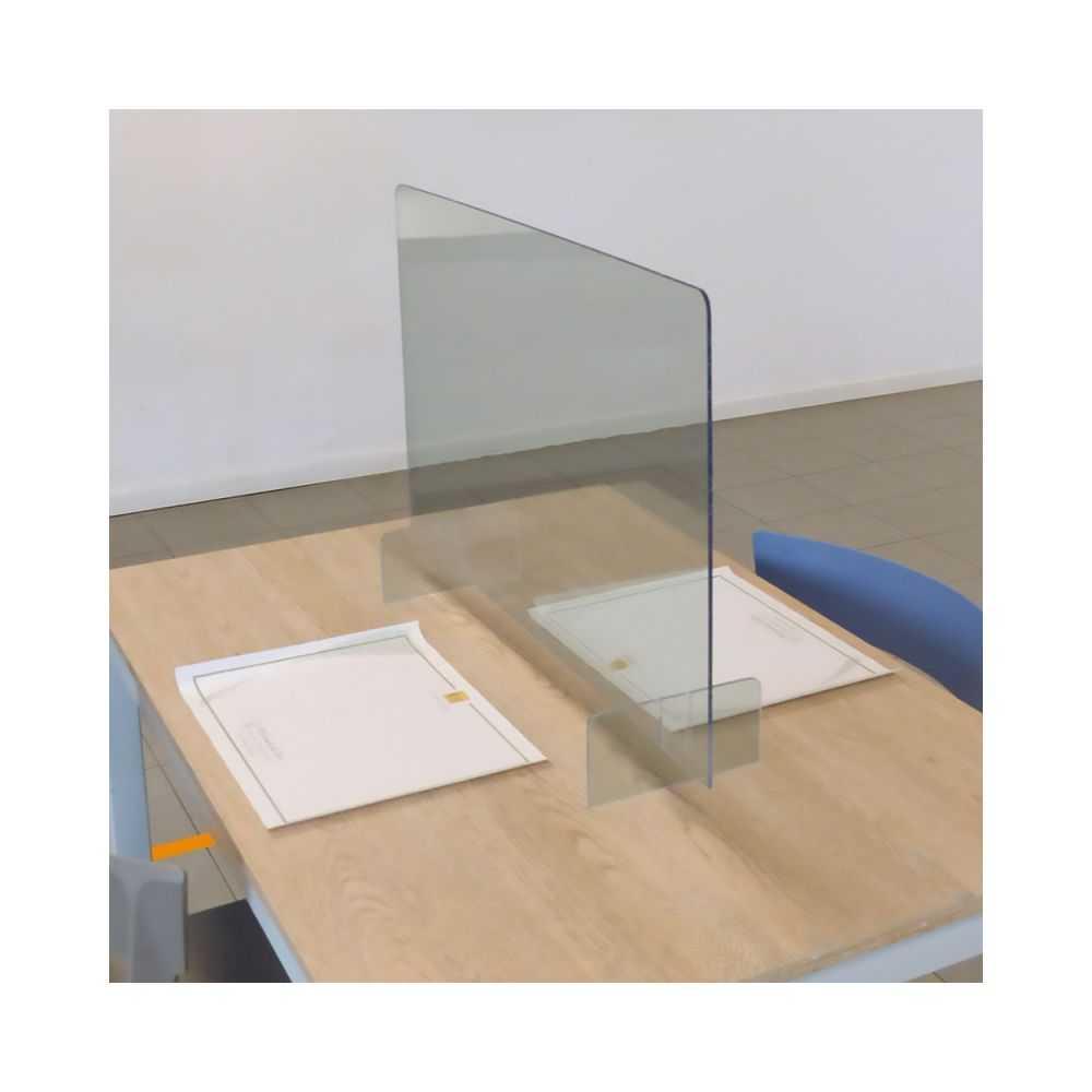 Divisorio da scrivania BASIC, autoportante in polistirene trasparente, spessore 5 mm. misura cm 100x65