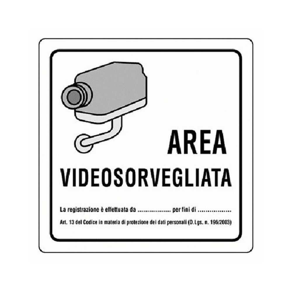 Cartello 'AREA VIDEOSORVEGLIATA' 20x20 cm.