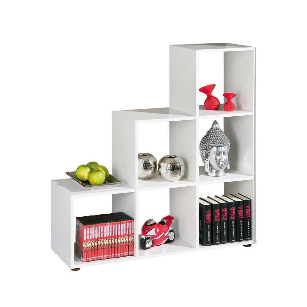 Libreria linea SCALA6, colore bianco, sei vani, cm 105x33xH109