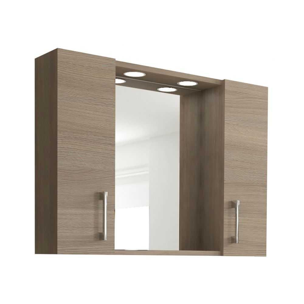 Mod. 960, specchio da bagno a 2 ante. Colore rovere/fumo