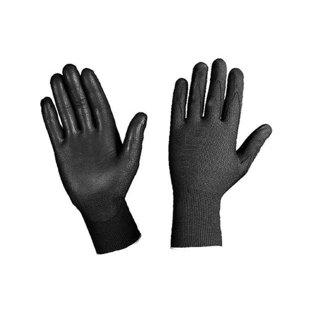 Guanti da lavoro in filato di Nylon spalmato di poliuterano Tg.S - Colore Nero