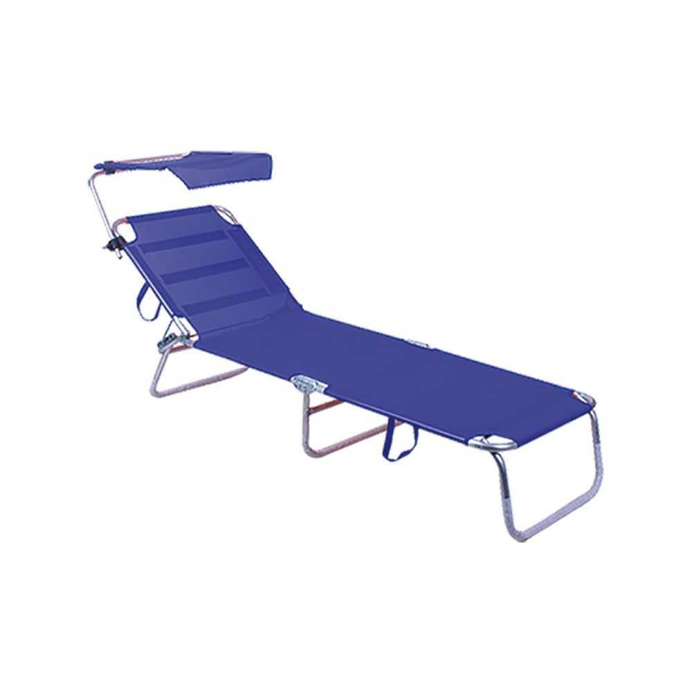 Lettino da spiaggia con parasole, in alluminio, pieghevole in 4 parti, tessuto in textilene colorato, cm 189x58xH28, colore blu