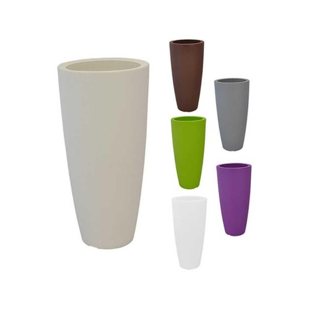 Vaso tondo STILO, in polietilene colorato. Dimensioni Ø cm 33 x H cm 70, Litri 12. Colore avorio
