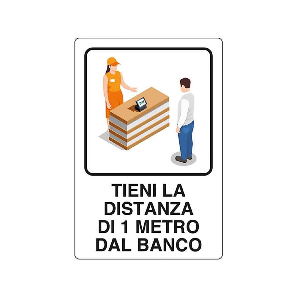 Cartello 'TIENI DISTANZA 1 METRO' 20x30 cm.