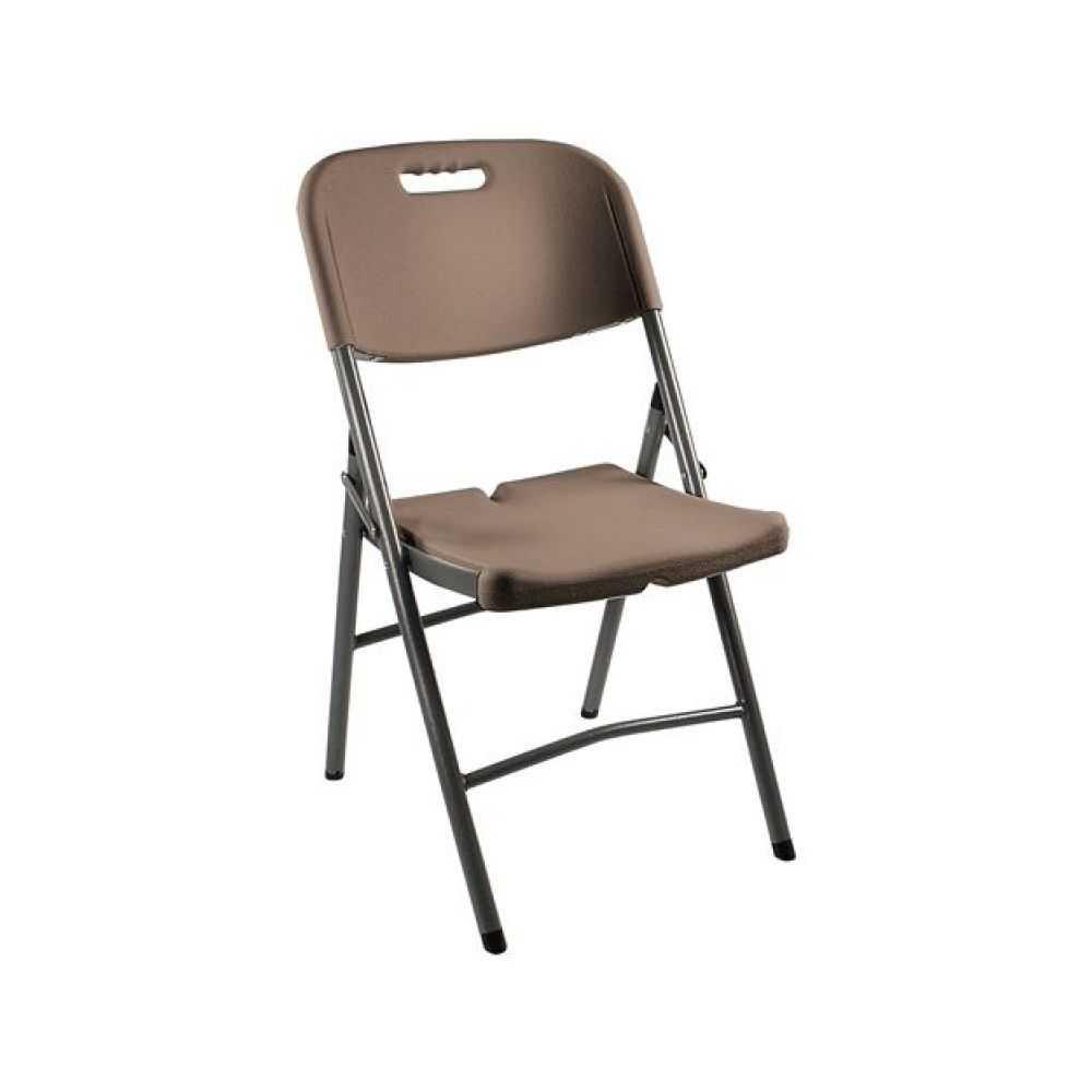 Sedia pieghevole modello CATERING, con struttura in metallo e seduta in plastica HDPE, misura cm 45x50xH88, colore marrone