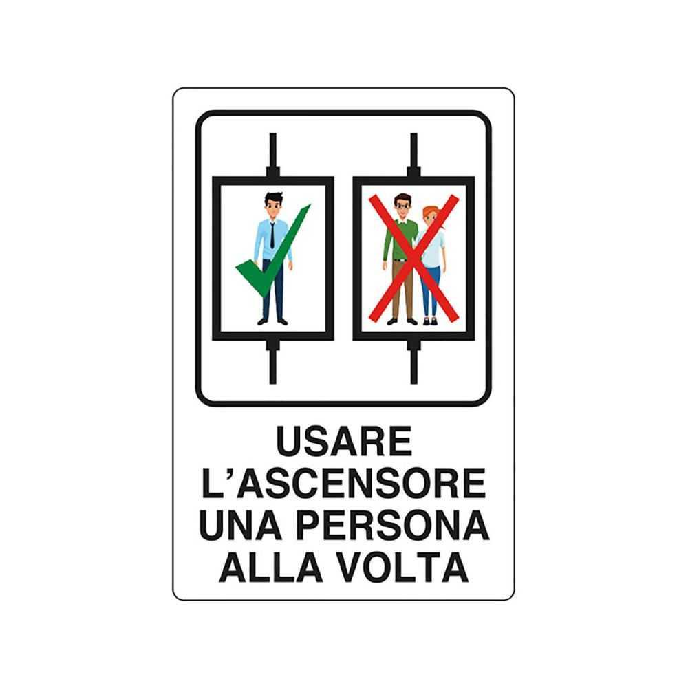 Cartello 'USARE ASCENSORE 1 PER VOLTA' 20x30 cm.
