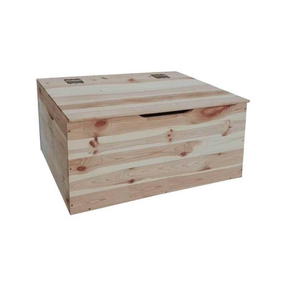 Cassapanca in legno di pino essiccato grezzo a listoni, dimensioni cm73x35xH33, spessore tavola 12 mm