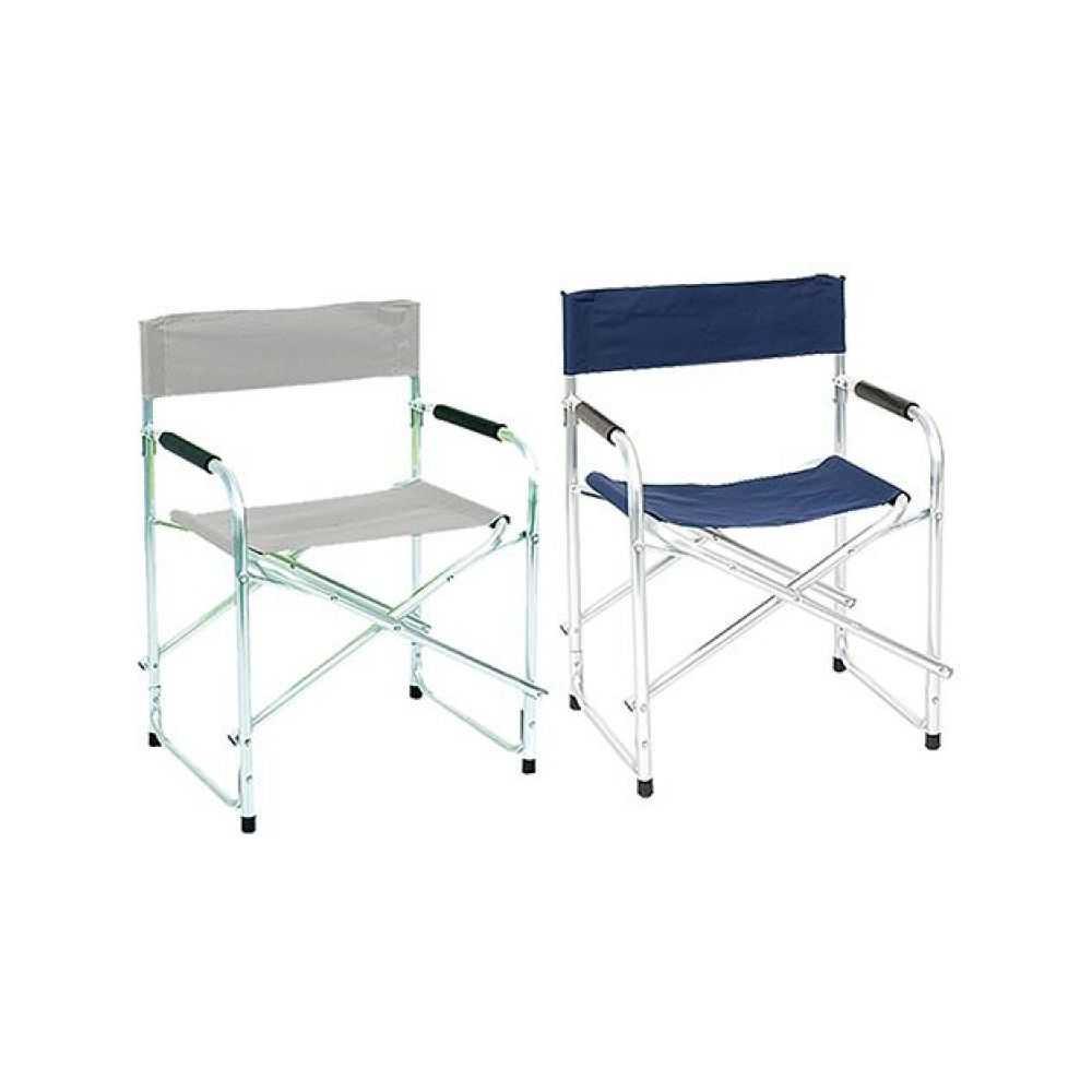 Sedia regista in alluminio, con seduta e schienale in tessuto, dimensioni cm 46x56xH80