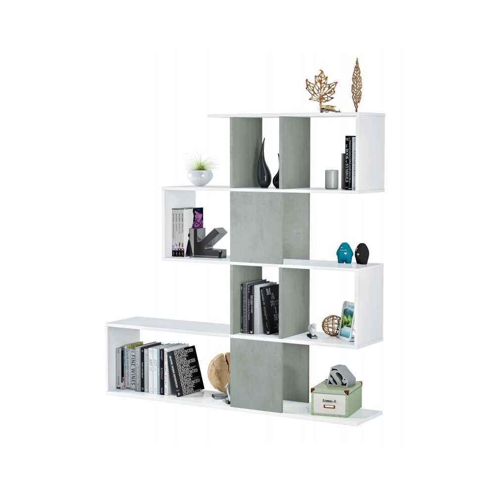 Libreria ZIG ZAG, 4 ripiani, in truciolare melaminico colore bianco/cemento. Misura cm 145x29xH145