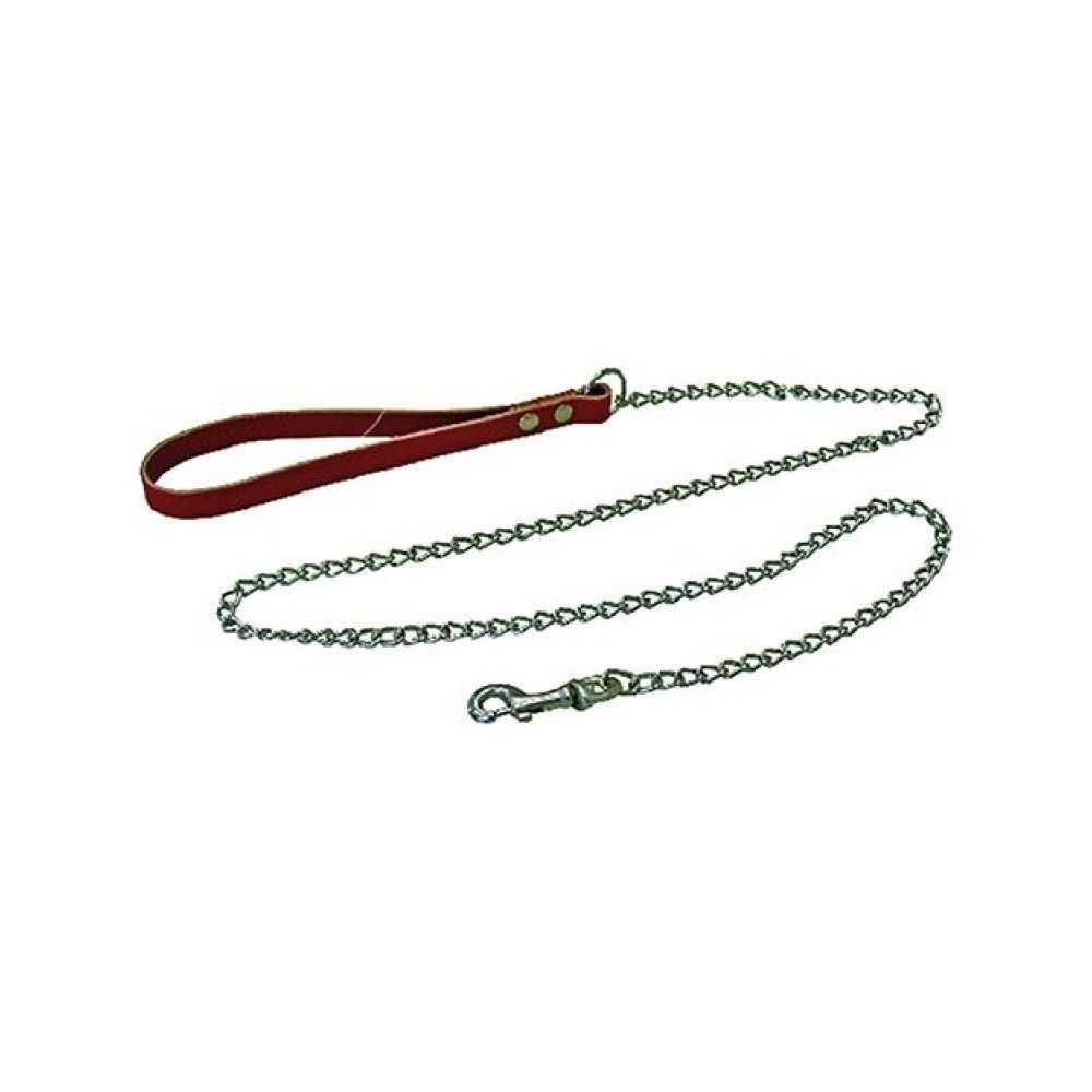 Guinzaglio per cane mis. 1, con passante in cuoio e catena piccola ,  120 cm