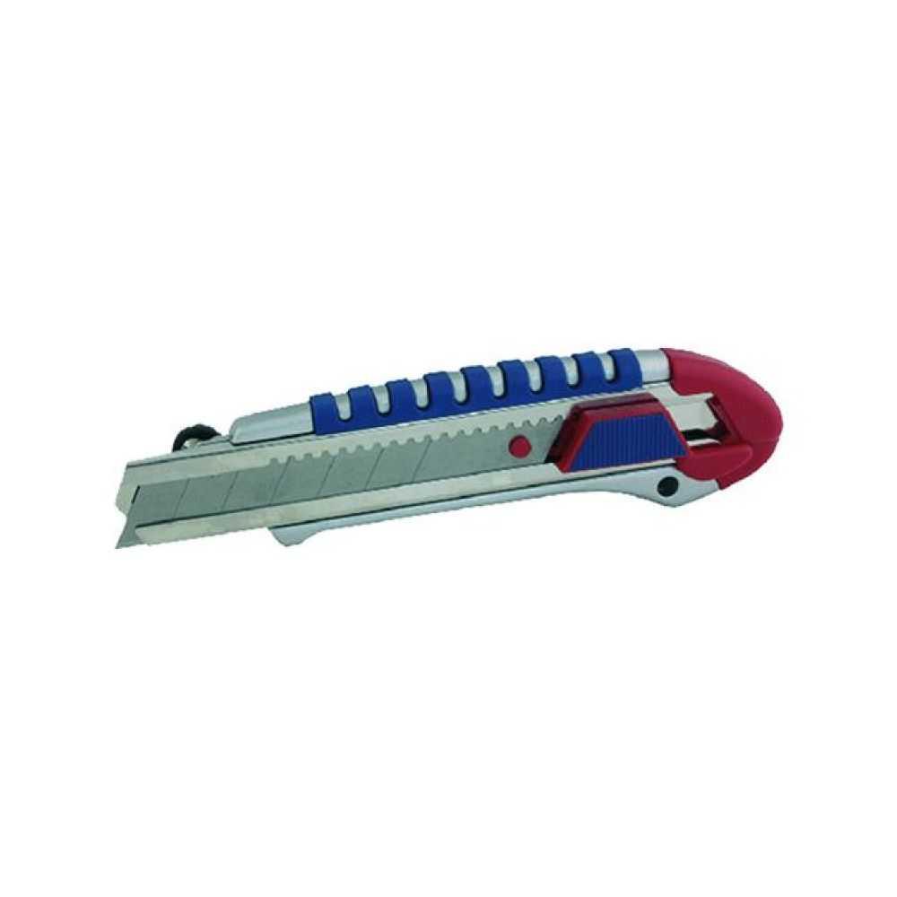 Taglierino in metallo con rotella blocca-lama e vassoio porta lame, 25 mm