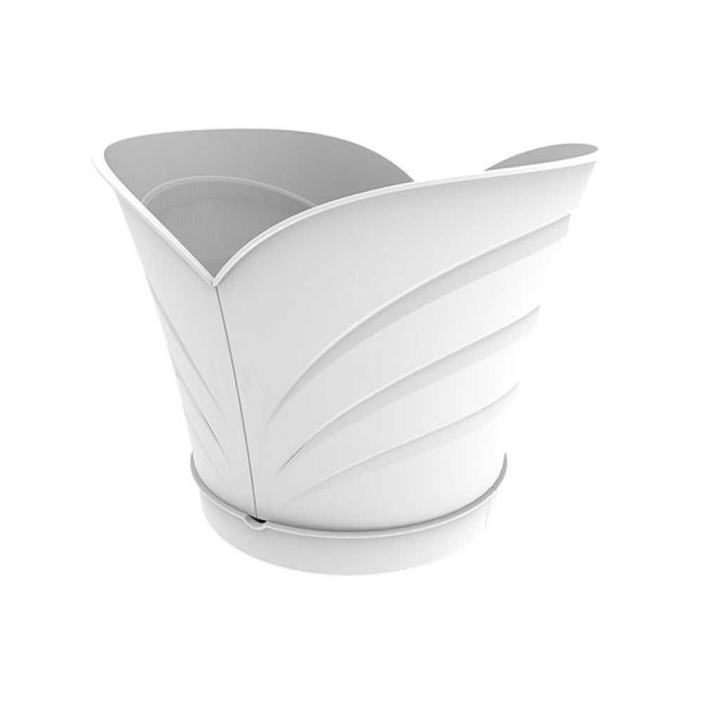 Vaso modello TULIPANO, in polipropilene senza sottovaso. Dimensioni cm 35x39xH30 Litri 10 Colore bianco