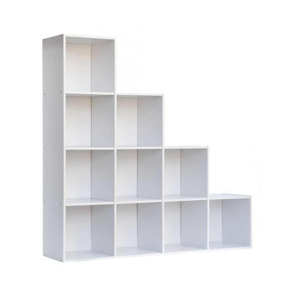 Libreria modello CUBO 10, in melaminico bianco, dieci vani, misura cm 121x30xH121
