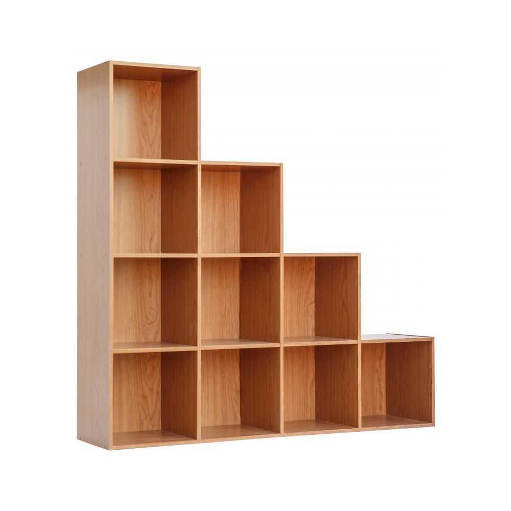 Libreria modello CUBO 10, dieci vani, melaminico colore ciliegio, cm 121x30xH121