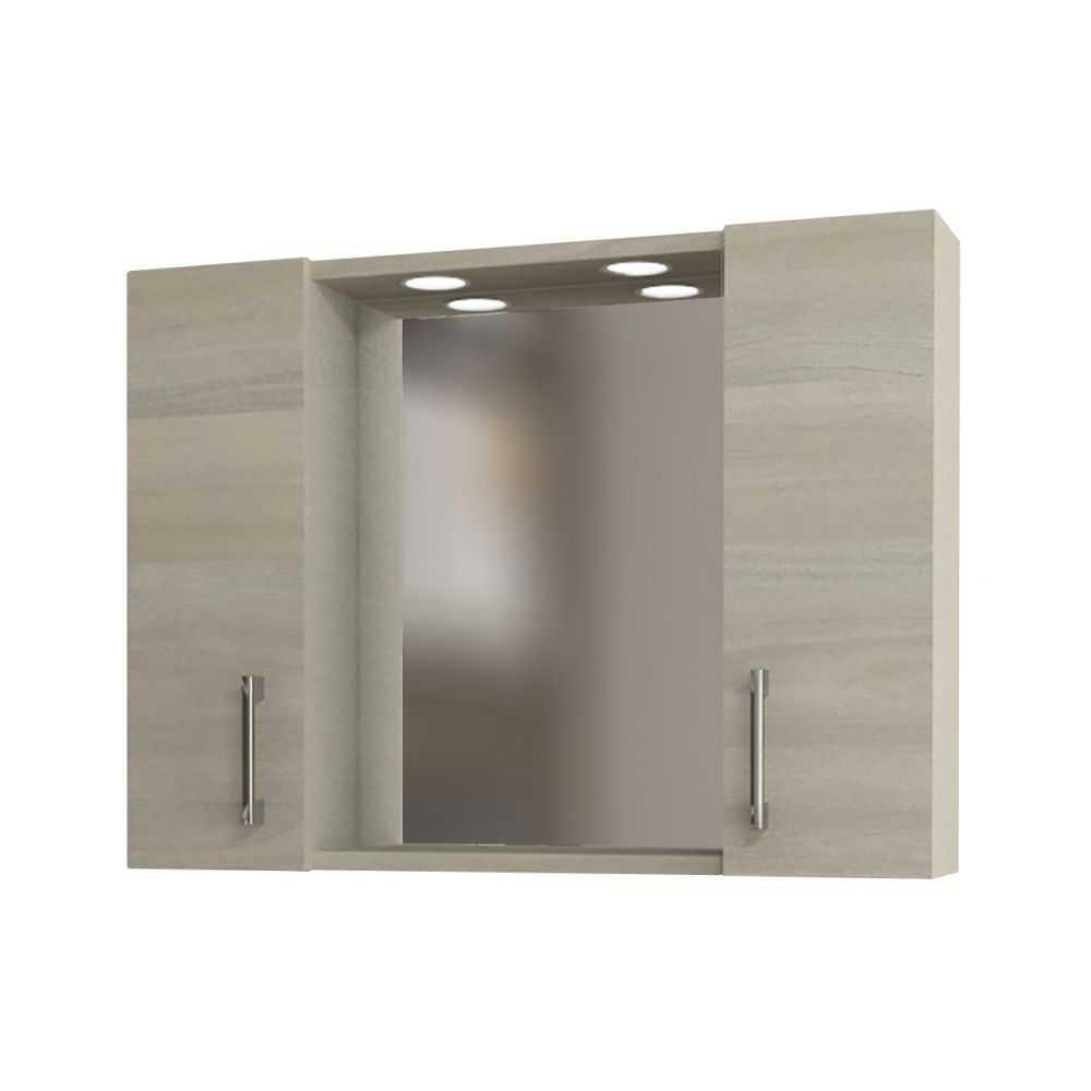 Mod. 960, specchio da bagno a 2 ante. Colore rovere/grigio