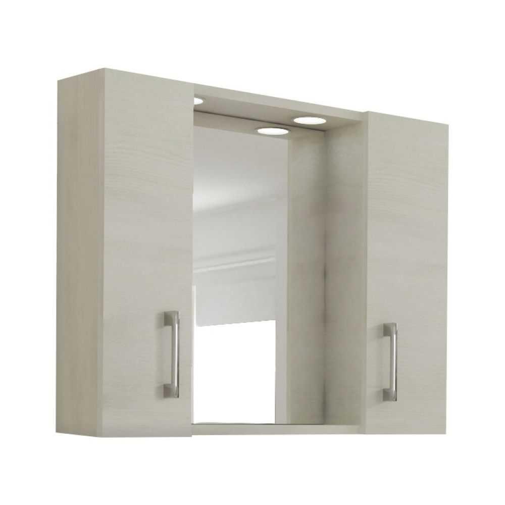 Mod. 960, specchio da bagno a 2 ante. Colore rovere/bianco