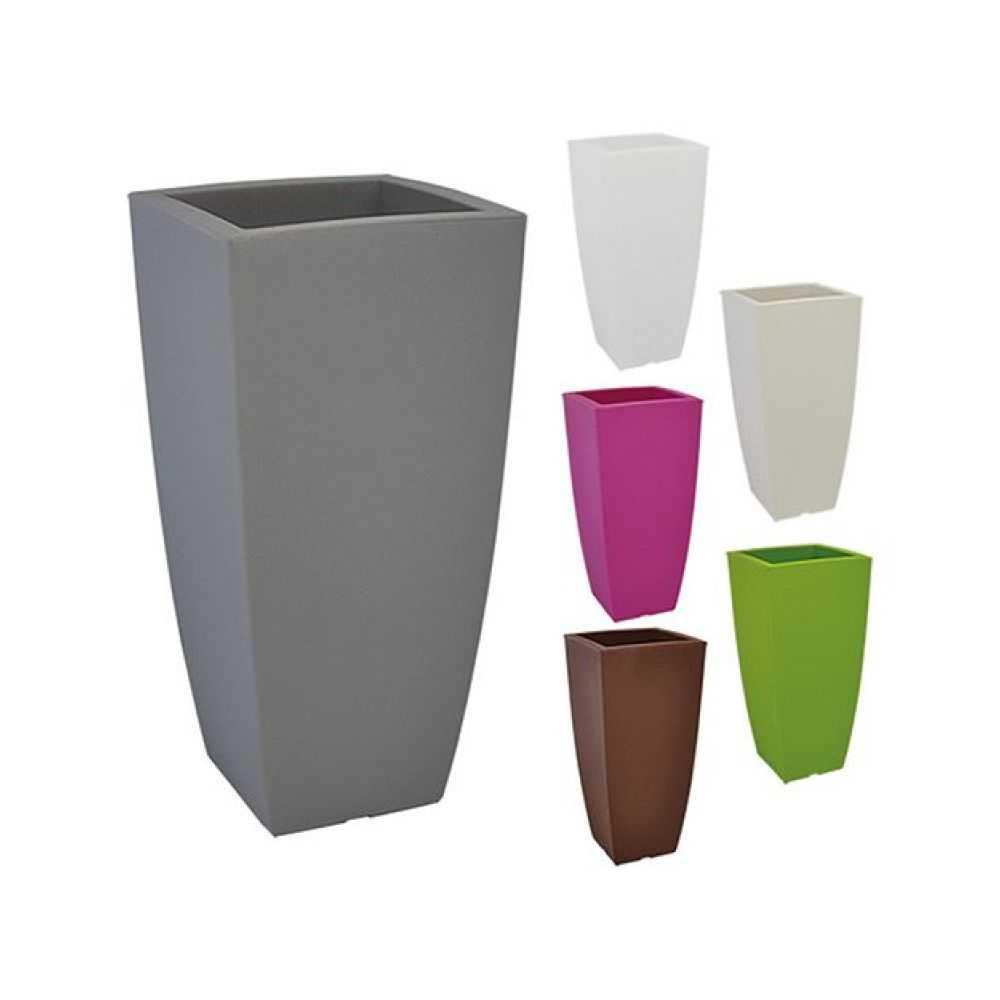 Vaso quadro STILO, in polietilene colorato. Dimensioni  cm 33x33xH 70, Litri 15. Colore grigio