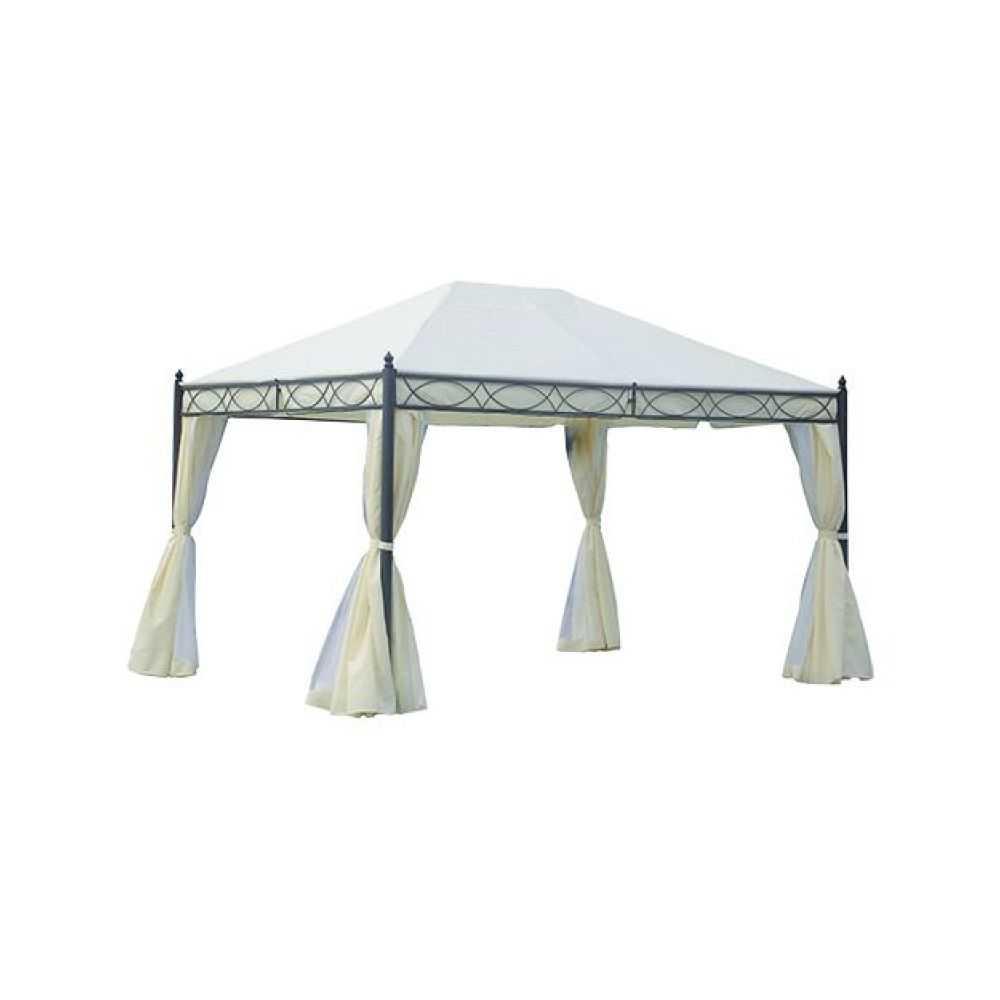 Gazebo modello OREGON, telaio in metallo, telo di copertura colore ecru, completo di tende per chiusure laterali. Misura mt 3x3,60, altezza massima al centro mt 2,90