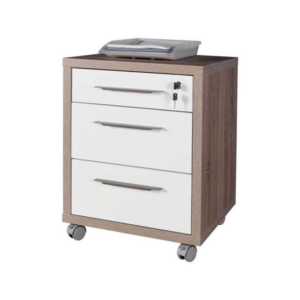 Cassettiera da ufficio con 3 cassetti bicolore effetto legno rovere e bianco con ruote
